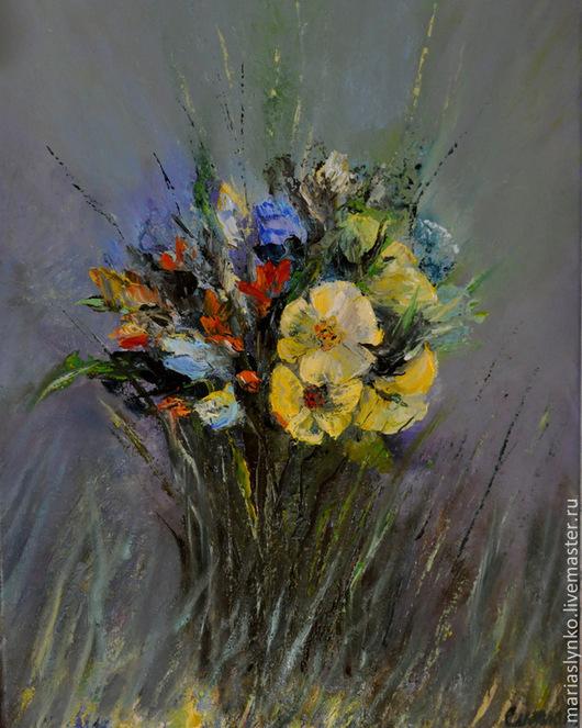 Картина маслом лесные цветы, разнотравье, букет