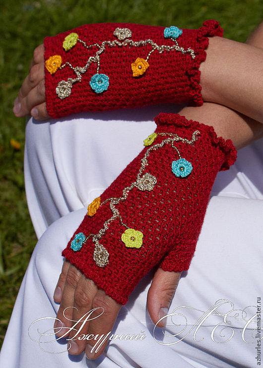 Варежки, митенки, перчатки ручной работы. Ярмарка Мастеров - ручная работа. Купить Красные яркие митенки с цветами. Handmade. Митенки