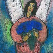 """Открытки ручной работы. Ярмарка Мастеров - ручная работа Почтовая открытка """"Ангел с синим букетом"""". Handmade."""