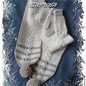 Аксессуары ручной работы. Ярмарка Мастеров - ручная работа КОМПЛЕКТ  шарф варежки - собачий пух пуховые. Handmade.
