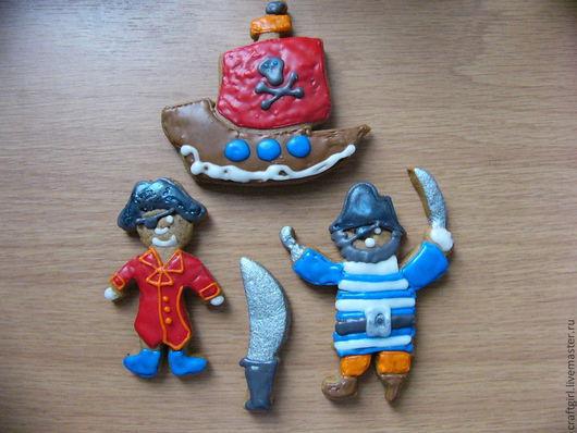 """Кулинарные сувениры ручной работы. Ярмарка Мастеров - ручная работа. Купить Пряники """" Пираты"""",  набор 10 шт. Handmade."""