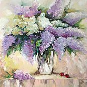 Картины и панно handmade. Livemaster - original item Oil painting still life lilac artist Kristina Gavrilova. Handmade.