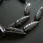 Материалы для творчества handmade. Livemaster - original item Beads leaf carving on black Buffalo horn. Handmade.