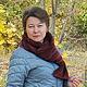 женский шарф вязаный спицами,шарф связанный из итальянской пряжи, шарф ручной вязки меринос 51%,шарф вязаный  полосатый в багряных тонах,шарф снуд трансформер на молнии