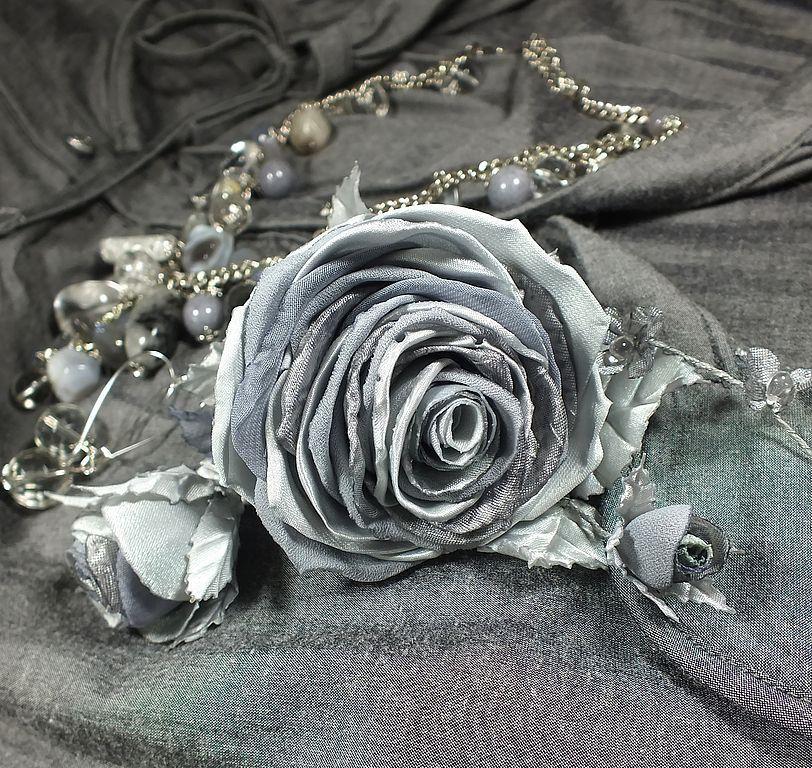 Комплекты украшений ручной работы. Ярмарка Мастеров - ручная работа. Купить Замёрзшие розы. Комплект украшений. Колье, серьги, брошь-цветок. Handmade.