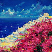 Картины и панно handmade. Livemaster - original item Oil painting on canvas. Sunny Greece. Handmade.