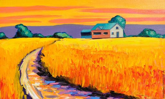 """Пейзаж ручной работы. Ярмарка Мастеров - ручная работа. Купить """"Поле пшеницы"""" - яркая картина маслом, пейзаж. 30х50. Handmade."""