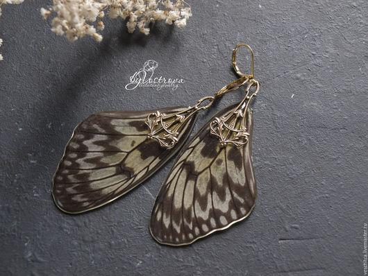 Серьги ручной работы. Ярмарка Мастеров - ручная работа. Купить Серьги из крыльев бабочки Idea Leuconoe. Handmade. Чёрно-белый