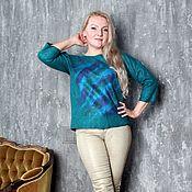 """Одежда ручной работы. Ярмарка Мастеров - ручная работа Авторский валяный свитер, свитшот """"Emerald"""". Handmade."""