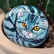 """Сувениры и подарки ручной работы. Ярмарка Мастеров - ручная работа """"Кошечка Британка"""" сувенирный камень. Handmade."""