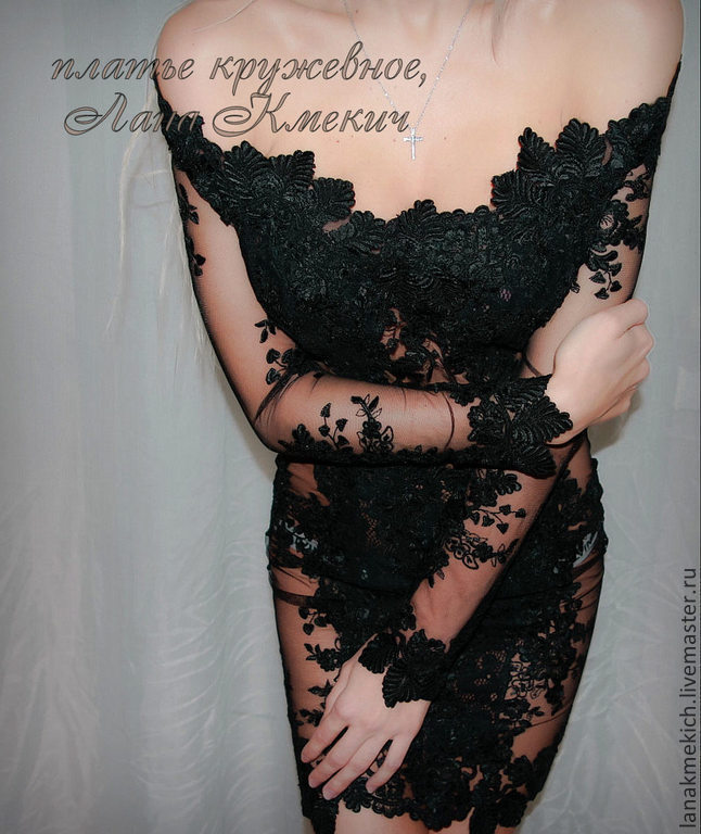 Black lace dress with a gorgeous neckline 'Temptation', Dresses, Moscow,  Фото №1