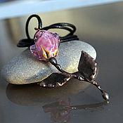 """Украшения ручной работы. Ярмарка Мастеров - ручная работа Кулон """"Роза"""" вертикальная лэмпворк & медь. Handmade."""