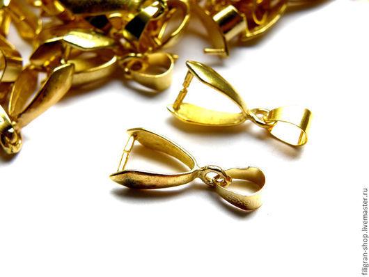 Для украшений ручной работы. Ярмарка Мастеров - ручная работа. Купить Бейл зажимной для кулона золото. Handmade. Золотой, бейл