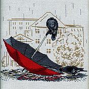 Картины и панно ручной работы. Ярмарка Мастеров - ручная работа Вороны под дождем. Вышитая картина. Картина вышитая крестом в подарок.. Handmade.
