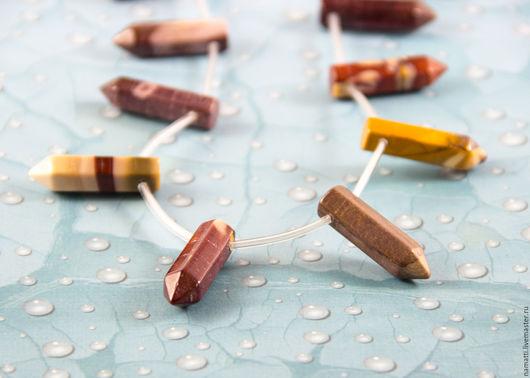 Для украшений ручной работы. Ярмарка Мастеров - ручная работа. Купить Яшма мукаит, бусины - палочки (форма кристалла), 18х30 мм. Handmade.