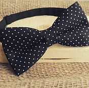 Аксессуары handmade. Livemaster - original item Tie Knight / black bow tie in polka dot print. Handmade.
