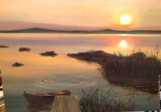 Пейзаж ручной работы. Ярмарка Мастеров - ручная работа. Купить Закат над озером. Handmade. Закат, вода, лодка