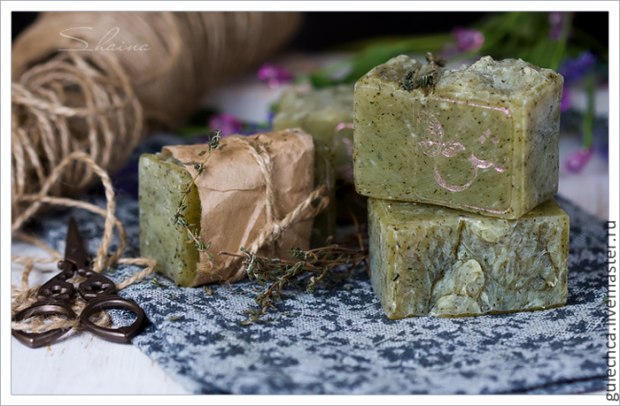 'THYME AND MINT' scrub soap from scratch, Soap, Schyolkovo,  Фото №1
