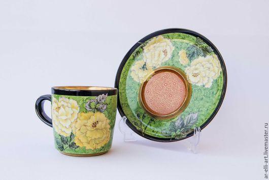 """Сервизы, чайные пары ручной работы. Ярмарка Мастеров - ручная работа. Купить Фарфоровая чайная пара """"Летний зной"""". Handmade."""