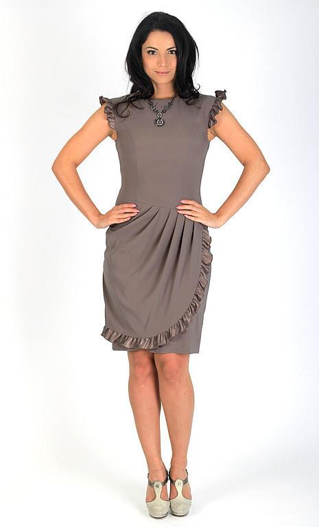 Платья ручной работы. Ярмарка Мастеров - ручная работа. Купить Платье с драпировкой - цвет серо-бежевый. Handmade. Нарядное платье