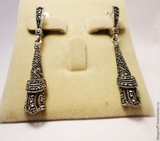 Серьги ручной работы. Ярмарка Мастеров - ручная работа. Купить Серебряные серьги 925 пробы  марказит восточный стиль Египет. Handmade.