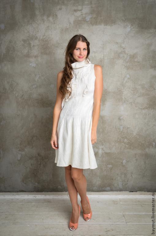 5d6b42b15948f81 Платья ручной работы. Ярмарка Мастеров - ручная работа. Купить Белое  валяное платье.
