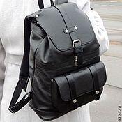 """Черный кожаный рюкзак """"Практик"""""""