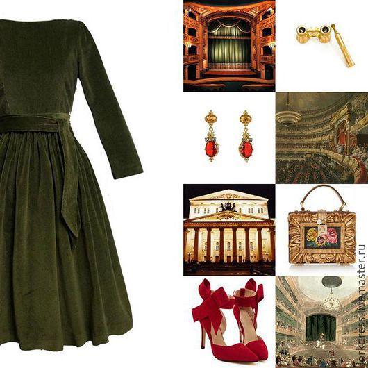 Платья ручной работы. Ярмарка Мастеров - ручная работа. Купить Платье из бархата. Handmade. Однотонный, тёмно-зелёный