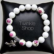 Украшения handmade. Livemaster - original item Floral bracelet white agate. Handmade.