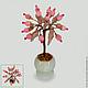 Миниатюрное дерево любви из розового кварца в вазочке из оникса