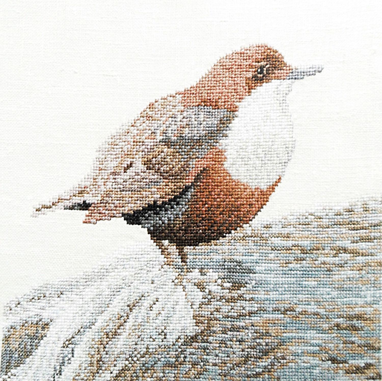 Картина Птица северных скал с ручной вышивкой крестом серая, Картины, Петрозаводск,  Фото №1