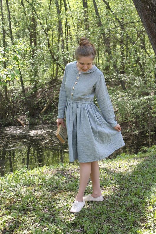 Платья ручной работы. Ярмарка Мастеров - ручная работа. Купить Платье голубое с поясом. Handmade. Голубой, платье до колен
