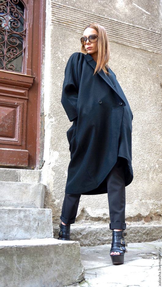 Экстравагантное пальто из шерсти . Теплое пальто на подкладе из кашемира. Пальто oversize. Пальто теплое в стиле гранж.