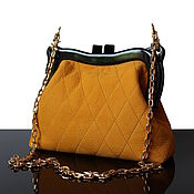Сумки и аксессуары handmade. Livemaster - original item Yellow suede clutch on the clasp quilted. Handmade.