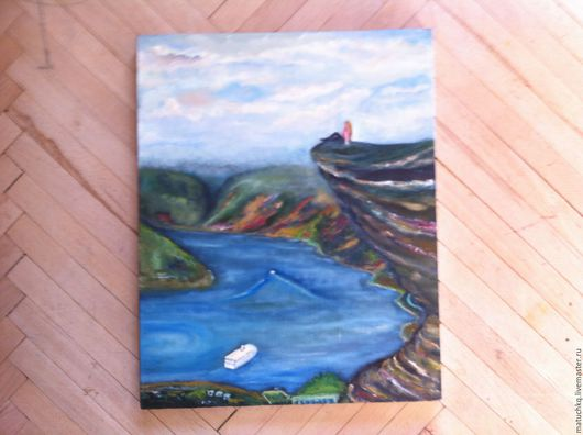 Пейзаж ручной работы. Ярмарка Мастеров - ручная работа. Купить Сэлфи на скале. Handmade. Комбинированный, картина, интерьер, холст, кисти