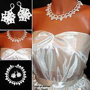 Украшения handmade. Livemaster - original item Jewelry set: Snow-white necklace and earrings. Handmade.