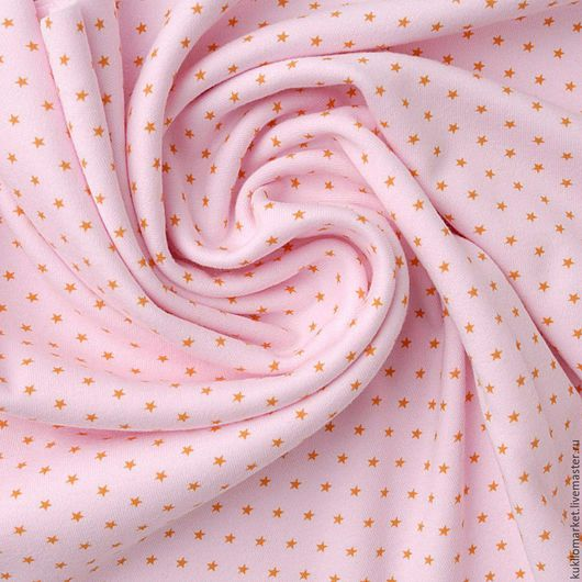 """Шитье ручной работы. Ярмарка Мастеров - ручная работа. Купить Интерлок """"звездная россыпь на розовом """". Handmade. Разноцветный, интерлок"""