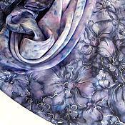 Аксессуары ручной работы. Ярмарка Мастеров - ручная работа Шелковый платок батик Ultra Violet orchids Ручная роспись. Handmade.