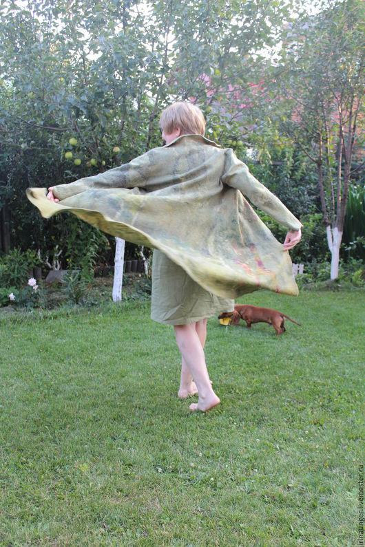 """Кофты и свитера ручной работы. Ярмарка Мастеров - ручная работа. Купить Кардиган валяный из шелка и шерсти """"Оливковая роща"""". Handmade."""