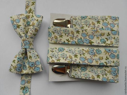 Галстуки, бабочки ручной работы. Ярмарка Мастеров - ручная работа. Купить Комплект бабочка и подтяжки в цветочки. Handmade. Разноцветный, подтяжки