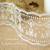 Материалы для творчества handmade. Livemaster - original item Tape wide white lace pattern. Handmade.
