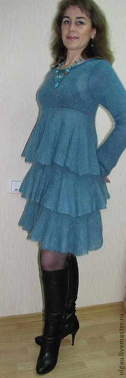 """Пляжные платья ручной работы. Ярмарка Мастеров - ручная работа. Купить Вязаное платье """"Бирюзовый лед"""". Handmade. Тёмно-бирюзовый"""
