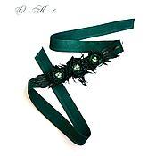 Аксессуары handmade. Livemaster - original item Belt sash Emerald flowers in suede and leather with embroidery. Handmade.