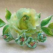 handmade. Livemaster - original item Silk flowers rose brooch free shipping