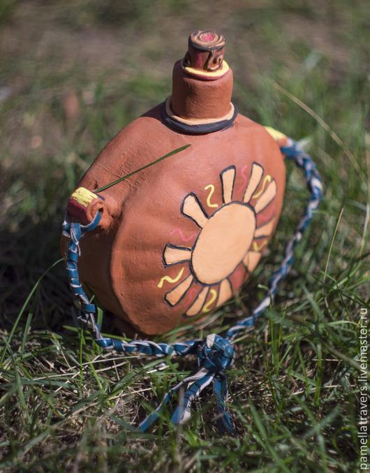 """Графины, кувшины ручной работы. Ярмарка Мастеров - ручная работа. Купить Керамическая фляжка """"В поход за солнцем"""". Handmade."""