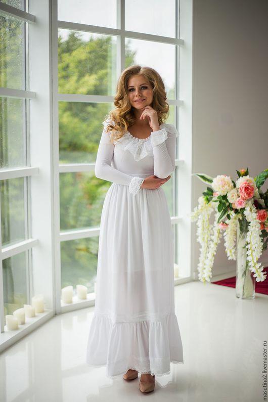 """Платья ручной работы. Ярмарка Мастеров - ручная работа. Купить Платье """"Амели"""". Handmade. Белый, длинное платье, авторская одежда"""