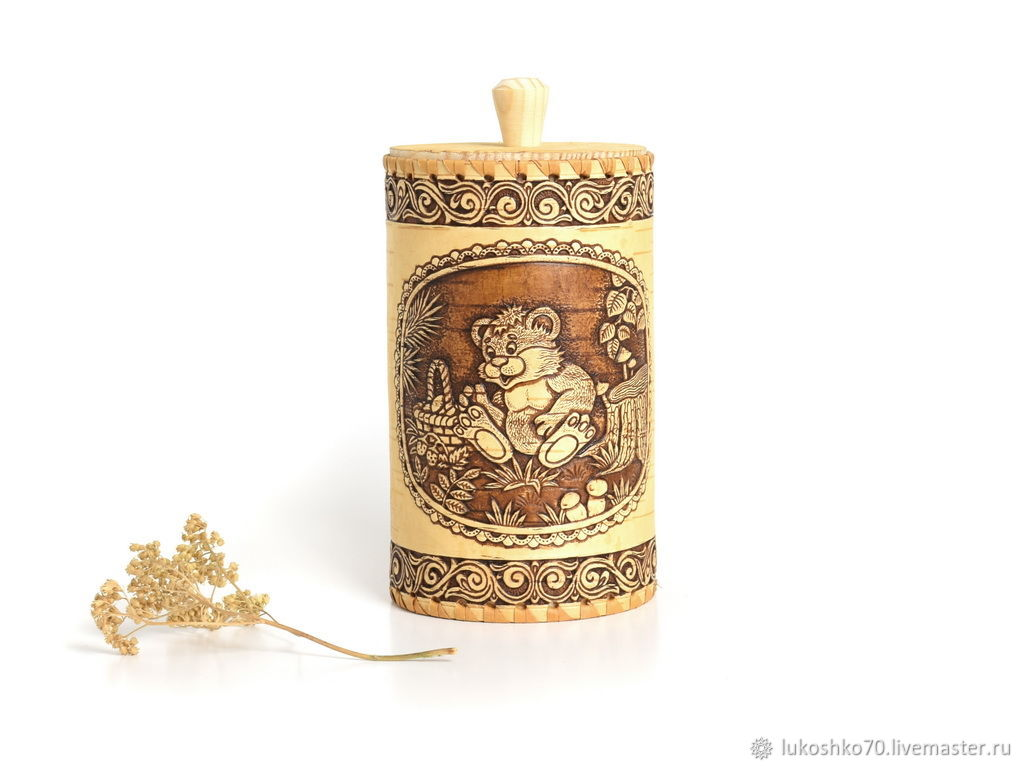 Bank from a birch bark Bear. Containers for storing tea, spices, cereals, Utensils, Tomsk,  Фото №1