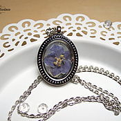 Украшения handmade. Livemaster - original item Transparent Pendant Violet Real Flower Purple Flower Boho Pendant. Handmade.
