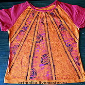 Одежда ручной работы. Ярмарка Мастеров - ручная работа Футболка Оранжевое настроение. Handmade.