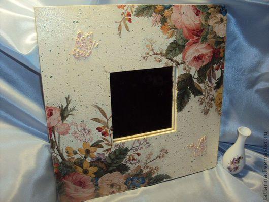 """Зеркала ручной работы. Ярмарка Мастеров - ручная работа. Купить зеркало """"Лето"""". Handmade. Лето, Декупаж, цветы, салфетка"""